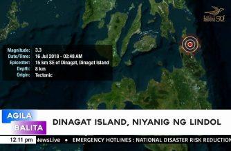 Dinagat Island, niyanig ng magnitude 3.3 na lindol