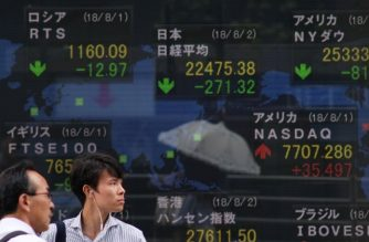 Pedestrians stand in front of a stock indicator displaying numbers of the Tokyo Stock Exchange (top C) and the world's major markets in Tokyo on August 2, 2018. Tokyo stocks slipped on August 2 tracking drops on Wall Street as Washington threatened to raise tariffs on Chinese goods. / AFP PHOTO / Kazuhiro NOGI