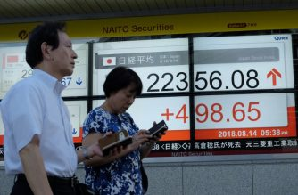 Pedestrians walk past a stock indicator showing share prices of the Tokyo Stock Exchange in Tokyo on August 14, 2018.  Tokyo's benchmark Nikkei index surged more than 2.2 percent August 14, swiftly recovering from the previous day's losses, with investors encouraged by an apparent hiatus in the Turkey lira crisis. / AFP PHOTO / Kazuhiro NOGI