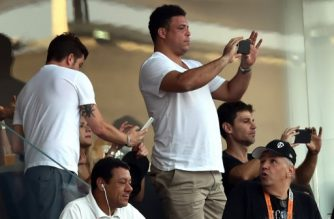 Former Brazilian striker Ronaldo is seen during the Brazilian championship football match between Corinthians and Sao Paulo at Arena Corinthians stadium in Sao Paulo, Brazil, on November 22, 2015.  / AFP PHOTO / NELSON ALMEIDA