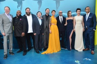 """HOLLYWOOD, CA - AUGUST 06: Jon Turtletaub, Page Kennedy, Olafur Darri Olafsson, Masi Oka, Rainn Wilson, Ruby Rose, Jason Statham, Jessica McNamee, Li Bingbing and Cliff Curtis attend the premiere of Warner Bros. Pictures And Gravity Pictures' """"The Meg"""" at TCL Chinese Theatre IMAX on August 6, 2018 in Hollywood, California.   Alberto E. Rodriguez/Getty Images/AFP"""