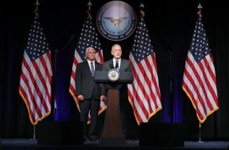 (File photo) ARLINGTON, VA - AUGUST 09: U.S. Defense Secretary James Mattis (R) introduces Vice President Mike Pence before he announces the Trump Administration's plan to create the U.S. Space Force by 2020 at the Pentagon August 9, 2018 in Arlington, Virginia. Describing space as adversarial and crowded and citing threats from China and Russia, Pence said the new Space Force would be a separate, sixth branch of the military.   Chip Somodevilla/Getty Images/AFP