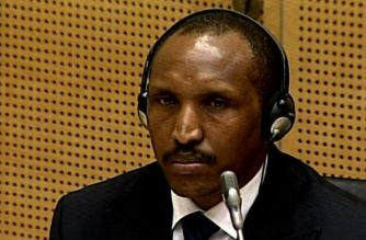 (FILES) An image grabbed from a video released by the Hague-based  International Criminal Court (ICC) on September 3, 2015 shows Congolese rebel leader Bosco Ntaganda on the second day of his trial before the ICC on September 3. AFP Photo / International Criminal Court  / HO