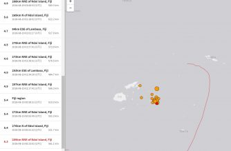 The 8.2 magnitude quake and several other strong aftershocks fhat followed off Fiji as seen in the US Geological Survey website.  (Screenshot of USGS website)
