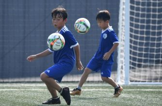 (FILES) This picture taken on July 28, 2018 shows young South Korean football students controlling the ball at SON Football Academy in Chuncheon, 75 kilometres east of Seoul. As Son Heung-min's career takes off in England, his legacy is already taking shape in South Korea -- at an innovative academy where ball control is king and shooting is frowned upon.  / AFP Photo / Jung Yeon-je
