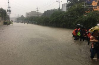 Roads became rivers in some parts of Metro Manila as torrential rains pound the Philippine capital on Saturday, August 11, 2018.  Photo taken along Central Avenue in Quezon City.  (Eagle News Service)