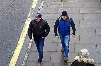 "A handout picture taken on Fisherton Road in Salisbury, west of London on March 4, 2018, and released by the British Metropolitan Police Service in London on September 5, 2018, shows Alexander Petrov (R) and Ruslan Boshirov, who are wanted by British police in connection with the nerve agent attack on former Russian spy Sergei Skripal and his daughter Yulia. British prosecutors said Wednesday they have obtained a European arrest warrant for two Russians blamed for a nerve agent attack on a former spy in the city of Salisbury. Police identified Alexander Petrov and Ruslan Boshirov as the men who tried to kill Russian former double agent Sergei Skripal and his daughter Yulia with Novichok in March 2018. / AFP PHOTO / Metropolitan Police Service / HO / RESTRICTED TO EDITORIAL USE - MANDATORY CREDIT  "" AFP PHOTO / Metropolitan Police Service""  -  NO MARKETING NO ADVERTISING CAMPAIGNS   -   DISTRIBUTED AS A SERVICE TO CLIENTS"