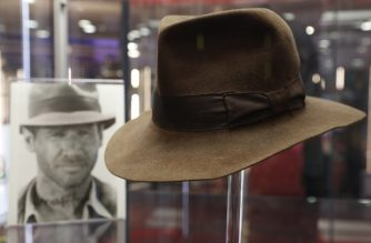 The fedora worn by Harrison Ford's character Indiana Jones in the 'Indiana Jones and the Raiders of the Lost Ark' film is on show at the Imax in central London on September 6, 2018 and will be auctioned on September 20. / AFP PHOTO / Adrian DENNIS