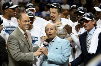 (FILES) In this file photo taken on May 30, 2009  Orlando Magic owner Richard DeVos speaks on the court after defeating the Cleveland Cavaliers of the Orlando Magic in Game Six of the Eastern Conference Finals during the 2009 Playoffs at Amway Arena in Orlando, Florida.  Billionaire businessman Richard DeVos, owner of the NBA's Orlando Magic and founder of health and home care product manufacturer Amway, diedSeptember 6, 2018 at his Ada, Michigan, home. He was 92. DeVos, the father-in-law of US Education Secretary Betsy DeVos, bought the Magic in 1991 and under his watch took five division titles and reached the NBA Finals in 1995, losing to Houston, and 2009, falling to the Los Angeles Lakers.  / AFP PHOTO / GETTY IMAGES NORTH AMERICA / ELSA