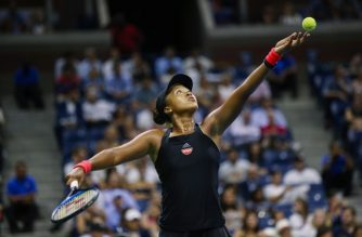 Naomi Osaka of Japan serves the ball to Madison Keys of the US during their 2018 US Open women's singles semi-finals tennis match on September 6, 2018 in New York.                      / AFP PHOTO / EDUARDO MUNOZ ALVAREZ