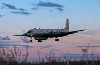 "A photo taken on July 23, 2006 shows an Russian IL-20M (Ilyushin 20m) plane landing at an unknown location. Russia blamed Israel on September 18, 2018 for the loss of a military IL-20M jet to Syrian fire, which killed all 15 servicemen on board, and threatened a response. Israeli pilots carrying out attacks on Syrian targets ""used the Russian plane as a cover, exposing it to fire from Syrian air defences,"" a statement by the Russian military said.  / AFP PHOTO / Nikita SHCHYUKIN"