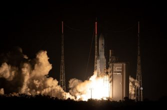 Ariane 5 rocket lifts off for it's 100th mission to space from Kourou, French Guiana, on September 25, 2018. It's payload is two satellites: Horizons 3e, a high-throughput communications satellite build by Boeing, and Azerspace-2 / Intelsat 38. / AFP PHOTO / jody amiet