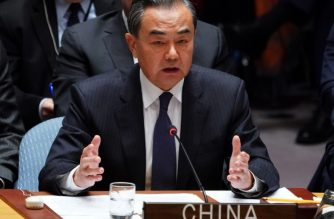 """Chinese Foreign Minister Wang Yi speaks at the United Nations Security Council meeting on North Korea, September 27, 2018 at the United Nations in New York. US Secretary of State Mike Pompeo warned Thursday that sanctions against North Korea must be """"vigorously"""" enforced, during a Security Council meeting attended by the foreign ministers of Russia and China. / AFP PHOTO / Don EMMERT"""