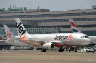 (File photo) Asian low cost carrier (LCC) JetStar's airbus jetliner taxies at the Narita International airport on July 19, 2012.    AFP PHOTO / TOSHIFUMI KITAMURA / AFP PHOTO / TOSHIFUMI KITAMURA