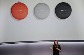 Isabelle Olsson, lead designer for home hardware for Google, Inc., introduces the new Google Home Mini at a product launch event, October 4, 2017, at the SFJAZZ Center in San Francisco, California. / AFP PHOTO / Elijah Nouvelage