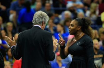 NEW YORK, NY - SEPTEMBER 08: Serena Williams (R) of the United States argues with referee Brian Earley (L) during her Women's Singles finals match against Naomi Osaka of Japan on Day Thirteen of the 2018 US Open at the USTA Billie Jean King National Tennis Center on September 8, 2018 in the Flushing neighborhood of the Queens borough of New York City.   Chris Trotman/Getty Images for USTA/AFP
