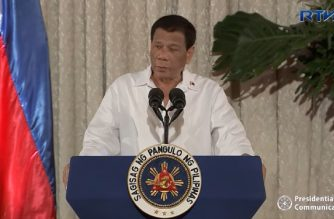 President Rodrigo Duterte speaking on Sept. 27, 2018 at the Rizal Hall in Malacanang Palace, telling new career service officers to help him stop corruption in government. (Photo grabbed from RTVM video)