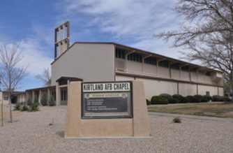 The Kirtland Air Force Base chapel where fugitive priest, Arthur Perrault, now 80 years old, was assigned as military chaplain.  The priest stands accused of aggravated sexual abuse of a minor under the age of 12 on several occasions in 1991 and 1992, while he served as a military chaplain at Kirtland Air Force base outside Albuquerque.