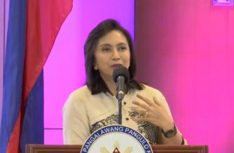 Vice President Leni Robredo speaking at the Washington Sycip 12th National Education Summit in PICC, Pasay City on Thursday, Sept. 6, 2018, before she proceeded to the Senate to meet with senator Antonio Trillanes IV.   (Screengrab from video courtesy official Facebook account of VP Leni Robredo)