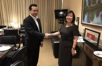 Senator Antonio Trillanes is visited by ousted Supreme Court chief justice Maria Lourdes Sereno in his Senate office on Wednesday, Sept. 12, 2018.  (Contributed photo)