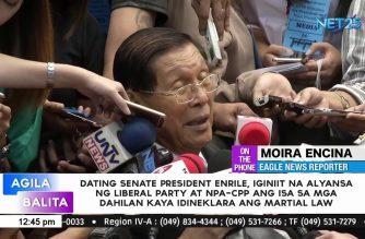 Enrile: Alyansa sa pagitan ng LP, CPP isa sa dahilan ng pagdeklara ng martial law ni Marcos sa bansa