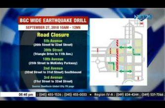 Ilang kalsada sa BGC, isasara sa Setyembre 27 dahil sa earthquake drill