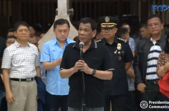President Rodrigo Duterte on Friday, Sept. 21, visited the victims of the landslide in Naga City, Cebu that claimed dozens of lives so far./PCOO?