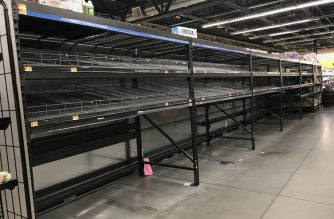 Store shelves were empty of bottled water in Virginia Beach, Virginia on Monday. Sarah Nacman/EBC Washington DC/Eagle News Service/