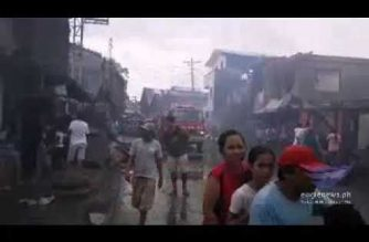 """Watch:  Fire engulfs large portion of Eastern Samar town spared by """"Ompong"""""""