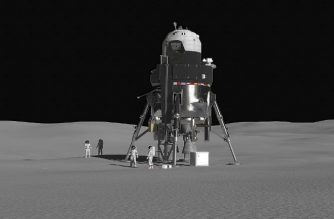 """This handout photo obtained October 3, 2018 courtesy of Lockheed Matin shows Lockheed Martin's concept for a crewed lunar lander in a single stage, fully reusable system that incorporates many of Orion's flight-proven technologies and systems, accommodating a crew of four and 2000 lbs. of payload on the surface for up to two weeks while returning to the Gateway without maintenance or refueling on the surface. US aerospace giant Lockheed Martin on October 3, 2018 unveiled its concept of a ship capable of landing on the moon, responding to a call by NASA for exploration missions to the Moon and Mars in a decade. NASA has announced the return of humans to the moon, the first step before reaching Mars one day, which is an official policy of the United States decided by President Donald Trump. / AFP PHOTO / Lockheed Martin / HO / RESTRICTED TO EDITORIAL USE - MANDATORY CREDIT """"AFP PHOTO / LOCKHEED MARTIN/HANDOUT"""" - NO MARKETING NO ADVERTISING CAMPAIGNS - DISTRIBUTED AS A SERVICE TO CLIENTS"""