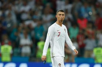 (FILES) In this file photo taken on June 30, 2018 Portugal's forward Cristiano Ronaldo reacts to his teams loss during the Russia 2018 World Cup round of 16 football match between Uruguay and Portugal at the Fisht Stadium in Sochi on June 30, 2018. Cristiano Ronaldo has been left out of Portugal's next four internationals, the national coach Fernando Santos said on October 4, 2018, days after rape allegations against the Real Madrid star resurfaced.  / AFP PHOTO / Odd ANDERSEN / RESTRICTED TO EDITORIAL USE - NO MOBILE PUSH ALERTS/DOWNLOADS