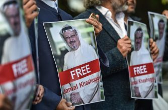 Protestors hold pictures of missing journalist Jamal Khashoggi during a demonstration in front of the Saudi Arabian consulate in Istanbul on October 5, 2018.    Jamal Khashoggi, a veteran Saudi journalist who has been critical towards the Saudi government has gone missing after visiting the kingdom's consulate in Istanbul on October 2, 2018, the Washington Post reported. / AFP PHOTO / OZAN KOSE