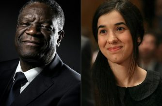 (COMBO) This combination created on October 5, 2018 of file pictures shows Congolese gynecologist Denis Mukwege (October 24, 2016 in Paris) and Nadia Murad, public advocate for the Yazidi community in Iraq and survivor of sexual enslavement by the Islamic State jihadists (June 21, 2016 in Washington, DC). Congolese doctor Denis Mukwege and Yazidi rape victim Nadia Murad won the 2018 Nobel Peace Prize on October 5, 2018 for their work in fighting sexual violence in conflicts around the world. / AFP PHOTO / AFP PHOTO AND GETTY IMAGES NORTH AMERICA / JOEL SAGET AND MARK WILSON