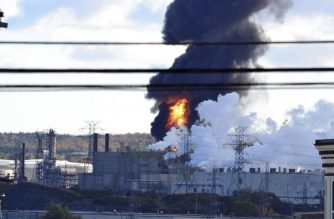 "This photo obtained October 8, 2018 courtesy of Jordan McWilliams shows an oil refinery fire at Irvine Oil refinery in St. John's, New Brunswick. An explosion and fire ripped through an Irvine Oil refinery October 8, 2018 in the Canadian province of New Brunswick, local media reported. It was not known if there were casualties. The company confirmed on Twitter that a ""major incident"" occurred at its refinery in St. John's, New Brunswick.""We are actively assessing the situation at this time and will share more information when available,"" it said.Images posted on social media networks showed flames and a column of black smoke rising from the refinery.  / AFP PHOTO / Jordan McWILLIAMS / Jordan McWILLIAMS / RESTRICTED TO EDITORIAL USE - MANDATORY CREDIT ""AFP PHOTO / JORDAN MCWILLIAMS/HANDOUT"" - NO MARKETING NO ADVERTISING CAMPAIGNS - DISTRIBUTED AS A SERVICE TO CLIENTS"