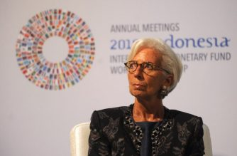 Managing director of the International Monetary Fund (IMF), Christine Lagarde, attends a trade conference introduction at the International Monetary Fund (IMF) and World Bank annual meetings in Nusa Dua on Indonesia's resort island of Bali on October 10, 2018. - Finance ministers and central bankers from 180 nations are among 32,000 attendees in Bali for the annual meeting of the International Monetary Fund and World Bank from October 9 to 14, which takes place every three years outside of Washington. (Photo by SONNY TUMBELAKA / AFP)