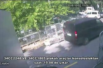 A frame grab on October 10,2018 taken from a police CCTV video made available through Turkish Newspaper Sabah allegedly shows a black van in front of the Saudi consulate in Istanbul on October 2, 2018. - Jamal Khashoggi, a veteran Saudi journalist who has been critical towards the Saudi government has gone missing after visiting the kingdom's consulate in Istanbul on October 2, 2018, the Washington Post reported. Saudi Arabia agreed to let Turkish authorities search its Istanbul consulate as part of the investigation into the disappearance of journalist Jamal Khashoggi, as his fiancee asked Donald Trump to help uncover what happened to the Riyadh critic. (Photo by - / Sabah Newspaper / AFP)