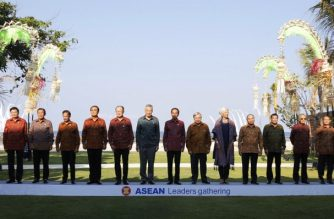 "Southeast Asian leaders pose for a family photo for the ASEAN Leaders Gathering at the International Monetary Fund (IMF) and World Bank annual meetings in Nusa Dua on Indonesia's resort island of Bali on October 11, 2018. Pictured L-R: ASEAN Secretary-General Lim Jock Hoi, Laos Prime Minister Thongloun Sisoulith, Cambodia's Prime Minister Hun Sen, Brunei Sultan Hassanal Bolkiah, Thailand's Prime Minister Prayut Chan-ocha, World Bank President Jim Yong Kim, Singapore's Prime Minister Lee Hsien Loong, Indonesia's President Joko Widodo, United Nations Secretary General Antonio Guterres, IMF Managing Director Christine Lagarde, Vietnam's Prime Minister Nguyen Xuan Phuc, Philippine President Rodrigo Duterte, Malaysia's Prime Minister Mahathir Mohamad, and Myanmar's U Win Myint. - Finance ministers and central bankers from 180 nations are among 32,000 attendees in Bali for the annual meeting of the International Monetary Fund and World Bank from October 9 to 14, which takes place every three years outside of Washington. (Photo by JOHANNES P CHRISTO / POOL / AFP) / ""The erroneous mention[s] appearing in the metadata of this photo by JOHANNES P CHRISTO has been modified in AFP systems in the following manner: [ Lim Jock Hoi] instead of [Le Luong Minh]. Please immediately remove the erroneous mention[s] from all your online services and delete it (them) from your servers. If you have been authorized by AFP to distribute it (them) to third parties, please ensure that the same actions are carried out by them. Failure to promptly comply with these instructions will entail liability on your part for any continued or post notification usage. Therefore we thank you very much for all your attention and prompt action. We are sorry for the inconvenience this notification may cause and remain at your disposal for any further information you may require."""