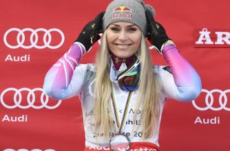 "(FILES) In this file photo taken on March 14, 2018 Downhill World Cup 2nd place US' Lindsey Vonn poses on the podium after the FIS Downhill World Cup event, in Aare, Sweden. - Lindsey Vonn says the 2018-19 World Cup ski season will be her last, whether she breaks the all-time record for victories or not. Vonn, a four-time overall World Cup champion and three-time Olympic medalist has 82 World Cup victories -- four shy of Swedish great Ingemar Stenmark's record of 86. ""If I get it, that would be a dream come true,"" Vonn told NBC Sports on October 11, 2018 in New York. ""If I don't, I think I've had an incredibly successful career no matter what. I'm still the all-time winningest female skier."" (Photo by Jonathan NACKSTRAND / AFP)"