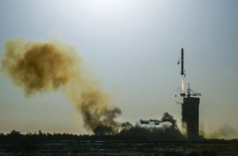 A Long March-2C rocket lifts off from the Jiuquan Satellite Launch Centre in Jiuquan in northwest China's Gansu province on October 29, 2018. - A Franco-Chinese satellite was launched into orbit on October 29 to study ocean surface winds and waves around the clock, better predict cyclones and improve scientists' understanding of climate change. (Photo by STR / AFP) / China OUT