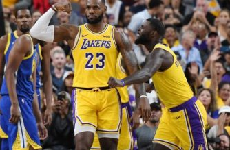 LAS VEGAS, NEVADA - OCTOBER 10: LeBron James #23 and Lance Stephenson #6 of the Los Angeles Lakers celebrate after James made a shot against the Golden State Warriors and was fouled during their preseason game at T-Mobile Arena on October 10, 2018 in Las Vegas, Nevada. The Lakers defeated the Warriors 123-113. NOTE TO USER: User expressly acknowledges and agrees that, by downloading and or using this photograph, User is consenting to the terms and conditions of the Getty Images License Agreement.   Ethan Miller/Getty Images/AFP