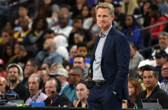 LAS VEGAS, NEVADA - OCTOBER 10: Head coach Steve Kerr of the Golden State Warriors looks on during a preseason game against the Los Angeles Lakers at T-Mobile Arena on October 10, 2018 in Las Vegas, Nevada. The Lakers defeated the Warriors 123-113. NOTE TO USER: User expressly acknowledges and agrees that, by downloading and or using this photograph, User is consenting to the terms and conditions of the Getty Images License Agreement.   Ethan Miller/Getty Images/AFP