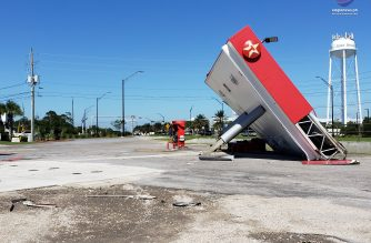 The collapse of a gas station on Highway 98 going east towards Panama City gives a glimpse of the devastation Hurricane Michael left behind. /Kristina Malit/EBC Florida Bureau/Eagle News Service/