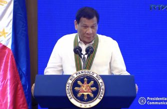 Philippine president Rodrigo Duterte speaking at the  Philippine Army Grandstand, Fort Bonifacio, Taguig during the Philippine Army Change of Command on Monday,. October 15, 2018 (Photo grabbed from RTVM video)
