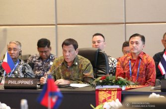President Rodrigo Duterte speaks before other leaders from the member countries of the Association of Southeast Asian Nations (ASEAN) during the ASEAN Leaders' Gathering held at the Sofitel Bali Nusa Dua in Bali, Indonesia on October 11, 2018. Also in the photo is Secretary Christopher Lawrence 'Bong' Go of the Office of the Special Assistant to the President. ACE MORANDANTE/PRESIDENTIAL PHOTO