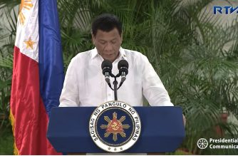 (File photo) President Rodrigo Duterte reading his arrival speech at the Francisco Bangoy International Airport in Davao City on Friday morning, Oct. 12, 2018, shortly after arriving from Indonesia where he participated in the ASEAN Leaders' gathering the previous day, Oct. 11, 2018.  (Photo grabbed from RTVM video)