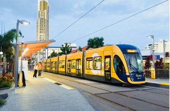 Gold Coast Light Rail 'Tram' in Southport Station.  (Photo by Patricia Madronio, EBC Australia Bureau, Eagle News Service)