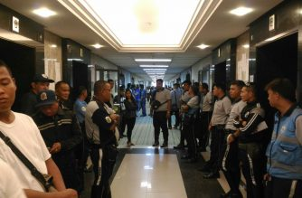 Security is tight outside Branch 148 of the Makati Regional Trial Court, where a DOJ motion seeking for an alias warrant and hold departure order against Senator Antonio Trillanes IV is being heard./Jerold Tagbo/Eagle News Service/