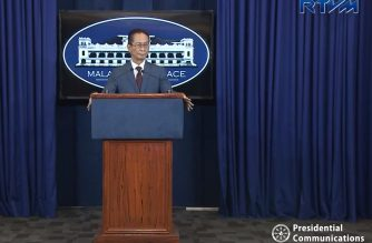 Chief Presidential Legal Counsel Atty. Salvador Panelo holds his first press briefing as presidential spokesperson in Malacanang on Friday, Oct. 12, 2018.  (Photo grabbed from RTVM video)