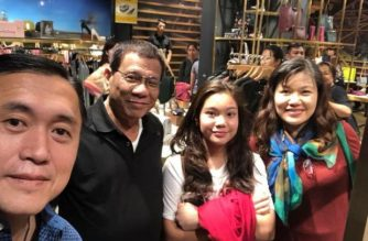 President Rodrigo Duterte, his daughter Kitty and partner Honeylet Avancena pose for a picture with Special Assistant to the President Bong Go in Hong Kong in October 2018. /Bong Go/