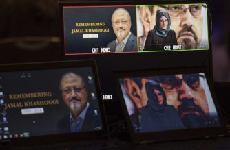 "(FILES) In this file photo taken on November 2, 2018 Hatice Cengiz, the fiancee of the late Washington Post journalist Jamal Khashoggi, delivers a prerecorded message (upper R) during a remembrance ceremony for her fiancée in Washington, DC. - The sons of murdered journalist Jamal Khashoggi have asked Saudi authorities to return the body of their father so the family can properly grieve, they told CNN in an interview aired November 4, 2018. Khashoggi was killed inside the kingdom's consulate in Istanbul by a team sent from Riyadh on October 2, a murder Turkey's president said was ordered from ""the highest levels"" of Saudi Arabia's government. (Photo by Jim WATSON / AFP)"